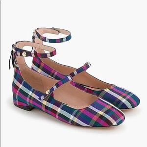 J. Crew Poppy two-strap ballet flats in plaid